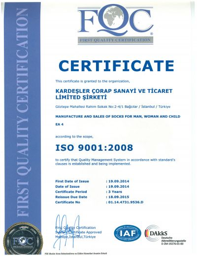 FIRST QUALITY CERTIFICATION